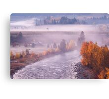Foggy Fall Morning Canvas Print