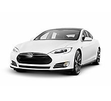 White Tesla Model S luxury electric car Photographic Print