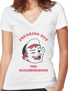 Freaking Out the Neighborhood Women's Fitted V-Neck T-Shirt