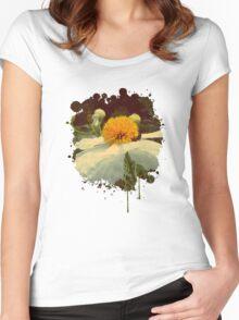 Secret Garden | White poppy Women's Fitted Scoop T-Shirt