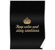 Keep calm and stay cautious... Inspirational Quote Poster