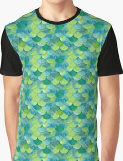 Green Mermaid Scales Graphic T-Shirt