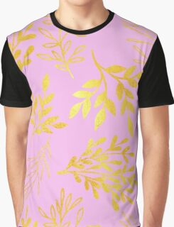 Golden Leaves on pale lilac botanical pattern Graphic T-Shirt