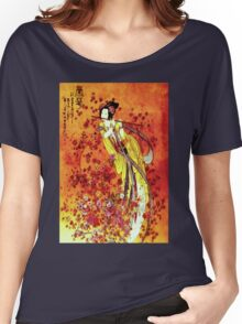 """JAPANESE GEISHA FLUTIST"" Vintage Decorative Painting Print Women's Relaxed Fit T-Shirt"