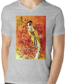 """JAPANESE GEISHA FLUTIST"" Vintage Decorative Painting Print Mens V-Neck T-Shirt"
