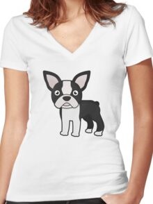cute boston terrier Women's Fitted V-Neck T-Shirt