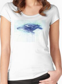 Humpback Whale Mom and Baby Painting Women's Fitted Scoop T-Shirt