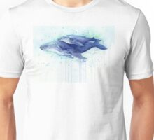 Humpback Whale Mom and Baby Painting Unisex T-Shirt
