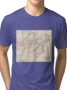 0329 Railroad Maps H V Poor's rail road map showing particularly the location and connections of the North East South West Alabama Rail Road by E D Sanford Civil Tri-blend T-Shirt