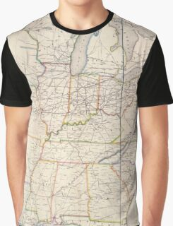 0329 Railroad Maps H V Poor's rail road map showing particularly the location and connections of the North East South West Alabama Rail Road by E D Sanford Civil Graphic T-Shirt