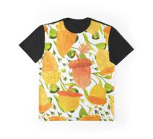 Gold Acorn And Green  Fall Leafs Seamless Pattern Graphic T-Shirt