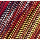 Color and Form Abstract - Striped Line Rain of Reds and Yellows by Leah McNeir