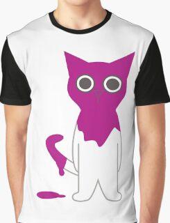Cat Magenta Paint Spill Cartoon Graphic Vector Graphic T-Shirt