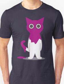 Cat Magenta Paint Spill Cartoon Graphic Vector Unisex T-Shirt