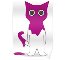 Cat Magenta Paint Spill Cartoon Graphic Vector Poster