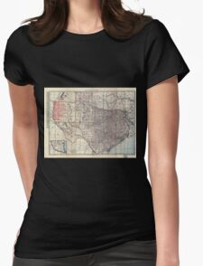 0173 Railroad Maps Texas Womens Fitted T-Shirt