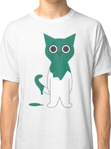 Cat Turquoise Paint Spill Cartoon Graphic Vector Classic T-Shirt