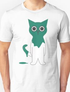 Cat Turquoise Paint Spill Cartoon Graphic Vector Unisex T-Shirt