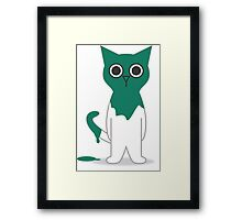 Cat Turquoise Paint Spill Cartoon Graphic Vector Framed Print