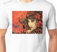 Autumn Girl with Floral Grunge 3 Unisex T-Shirt