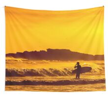 Going Further (Yellow, Landscape Surf Photography) Wall Tapestry