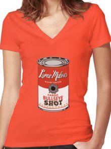 Fargo Soupcan Bullet Hole Women's Fitted V-Neck T-Shirt
