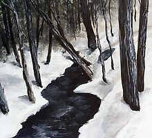 Snowy Winter Forest Stream - Vermont by sixstringphonic