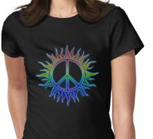 Peace Sign Sun Womens Fitted T-Shirt