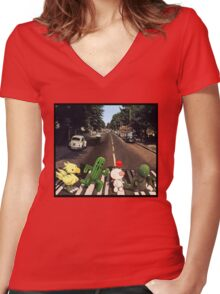 Final Fantasy Abbey Road Women's Fitted V-Neck T-Shirt