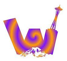 UW logo + Space Needle and Mt. Rainier Spiral by kltj11