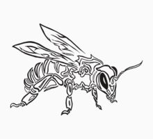 """Bee Spirit"" ver.1 - Surreal abstract tribal bee totem animal Kids Clothes"