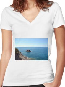The sea and rocks Women's Fitted V-Neck T-Shirt