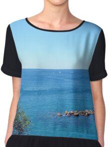 The sea and rocks in Vernazza Chiffon Top