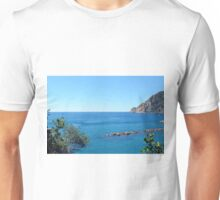 The sea and rocks in Vernazza Unisex T-Shirt