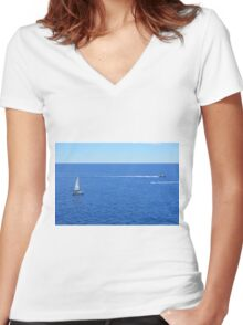 Sailing ships in the blue water of Portofino Women's Fitted V-Neck T-Shirt