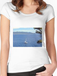 Sailing ships in the blue water of Portofino Women's Fitted Scoop T-Shirt
