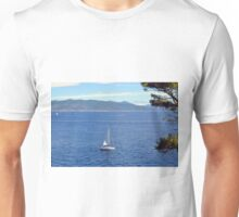 Sailing ships in the blue water of Portofino Unisex T-Shirt