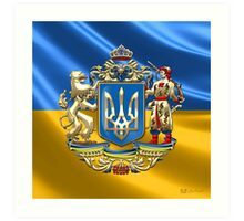 Ukraine: Proposed Greater Coat of Arms & Flag Art Print