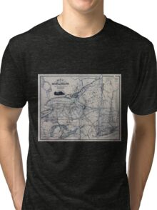 0319 Railroad Maps Map showing the location of the N Y Oswego Midland R R with existing and proposed connection January 1st 1869 by Van R Richmond State Engr Tri-blend T-Shirt