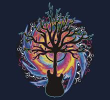 """Psychedelic Sonic Cyclone""   ( surreal guitar tree art) One Piece - Short Sleeve"