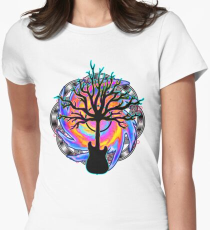 """Psychedelic Sonic Cyclone""   ( surreal guitar tree art) Womens Fitted T-Shirt"