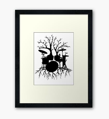 """""""Live the Beat to the Tempo of Creation"""" ~ drum tree art, version2 Framed Print"""