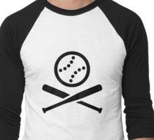 Baseball Softball Icon Pictogram (Black) Men's Baseball ¾ T-Shirt