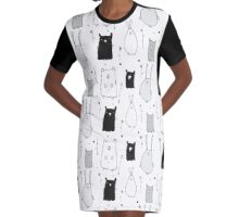 Teddy and Co Monochrome Graphic T-Shirt Dress