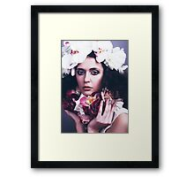 Beautiful Girl with Flowers Framed Print