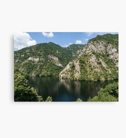 Rough Limestone - a Peaceful Lake in the Mountains Canvas Print