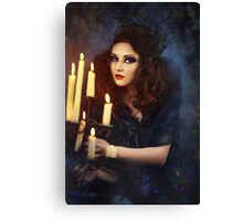 Gothic woman with candles Canvas Print