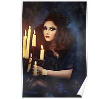 Gothic woman with candles Poster