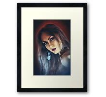 emotion expression dark girl face Framed Print