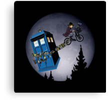Fourth Doctor Fly With Bicycle Canvas Print